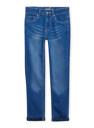 Girls 7-16 Skinny Jeans with Embroidered Back Pockets,LIGHT WASH,large