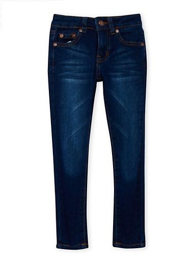 Girls 4-6x Whisker-Wash Skinny Jeans,DARK WASH,large