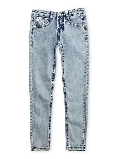 Girls 7-16 Acid Wash Five Pocket Jeans,BLUE,large