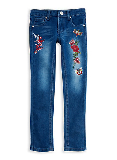 Girls 7-16 Embroidered Skinny Jeans,MEDIUM WASH,large
