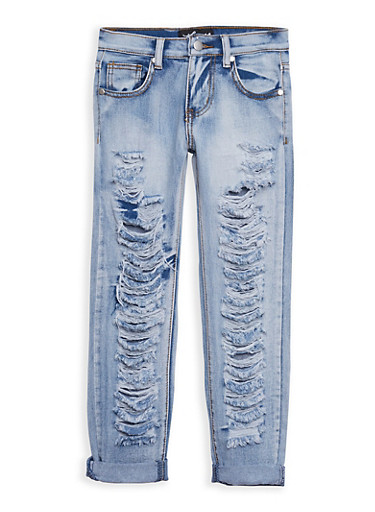 Girls 7-16 Destroyed Acid Wash Jeans,DENIM,large