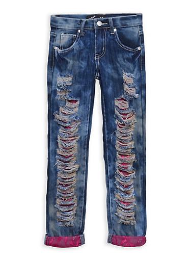Girls 7-16 Acid Wash Destroyed Jeans with Lace Underlay,DENIM,large