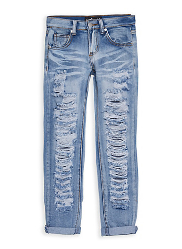 Girls 7-16 Whisker Washed Destroyed Jeans,DENIM,large