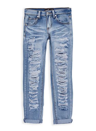 Girls 7-16 Whisker Washed Destroyed Jeans,DENIM,large