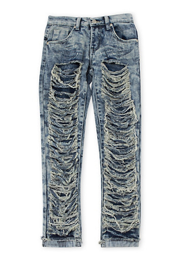Girls 7-16 Faux Ripped Skinny Jeans,DENIM,large