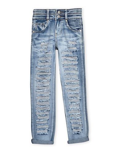 Girls 7-16 Destroyed Jeans,DENIM,large