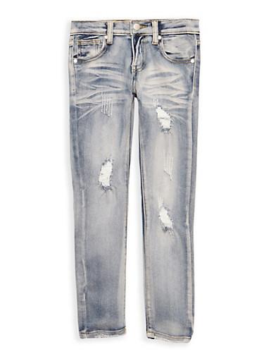 Girls 7-16 Light Wash Jeans,DENIM,large