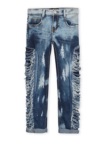 Girls 7-16 Slashed Sides Jeans,DENIM,large