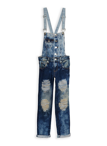 Girls 7-16 Ripped Two Tone Denim Overalls,DENIM,large