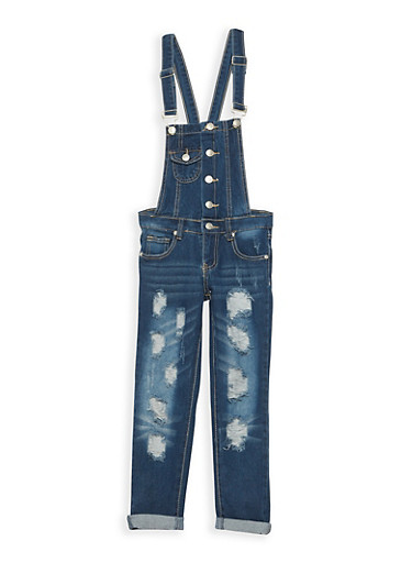 Girls 7-16 Ripped Medium Wash Denim Overalls,MEDIUM WASH,large