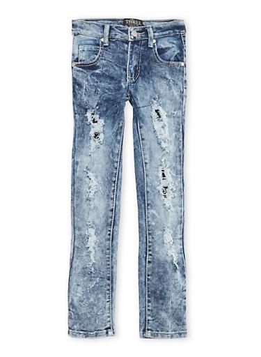 Girls 7-16 Rip and Repair Acid-Wash Skinny Jeans,DENIM,large