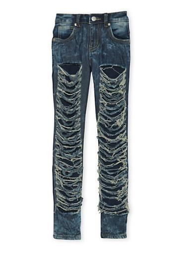 Girls 7-16 Shredded Skinny Jeans,DENIM,large