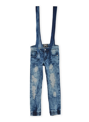 Girls 7-16 Distressed Denim Joggers with Removable Overalls,DENIM,large