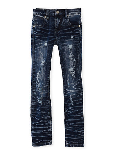 Girls 7-16 Sandblasted Skinny Jeans,DENIM,large
