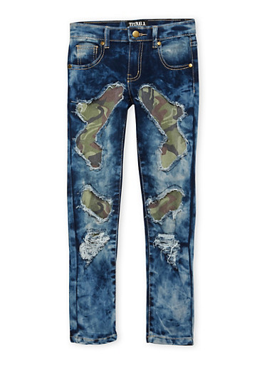 Girls 7-16 Skinny Jeans with Camo-Print Patches,DENIM,large