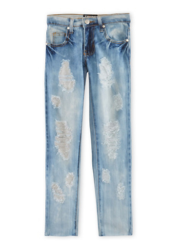 Girls 7-16 Distressed Skinny Jeans,DENIM,large