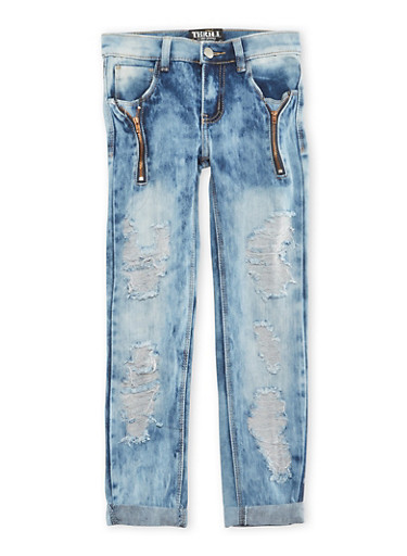 Girls 7-16 Distressed Skinny Jeans with Zipper Accents,DENIM,large
