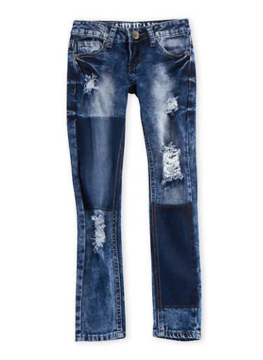 Girls 7-16 VIP Jeans with Distressed Front,MEDIUM WASH,large
