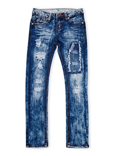 Girls 8-16 VIP Stone Washed Skinny Jeans,MEDIUM WASH,large