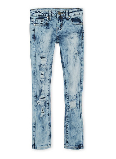 Girls 8-16 VIP Ripped Acid Wash Skinny Jeans with Five Pockets,MEDIUM WASH,large