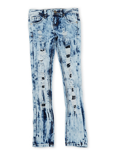 Girls 7-16 VIP Jeans with Backed Distressing,MEDIUM WASH,large