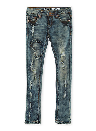 Girls 7-16 Distressed VIP Jeans,DENIM,large