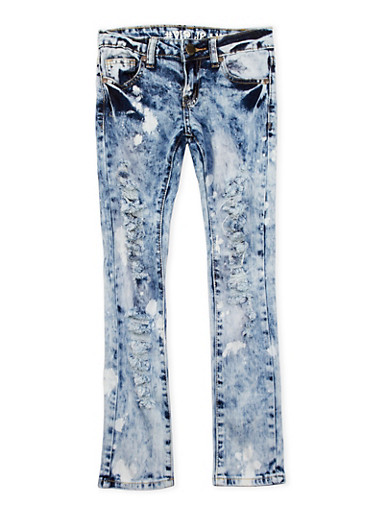 Girls 7-16 VIP Distressed Skinny Jeans in Acid Wash,BABY BLUE,large