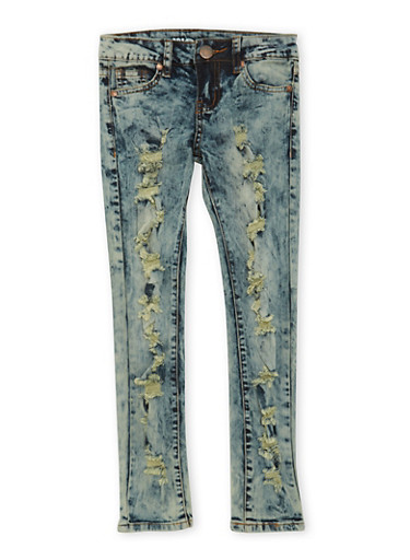 Girls 7-16 VIP Ripped Vintage Acid-Wash Skinny Jeans,DENIM,large