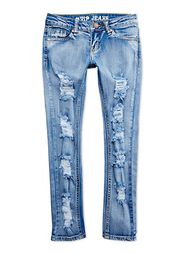 Girls 7-16 VIP Distressed Skinny Jeans,BLUE,large