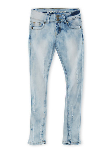 VIP Jeans Girls 7-16 Distressed Skinny Jeans,MEDIUM WASH,large