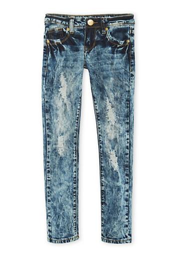 Girls 7-16 VIP Distressed Skinny Jeans in Acid Wash,DENIM,large