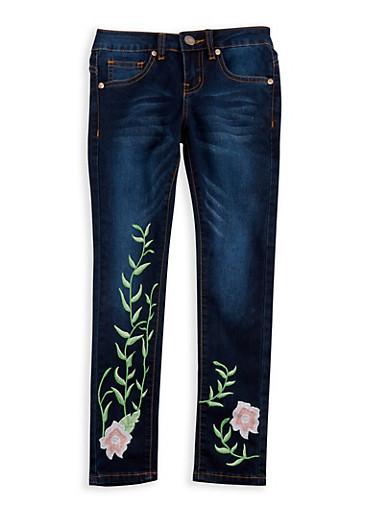 Girls 7-16 VIP Dark Blue Embroidered Skinny Jeans,DENIM,large