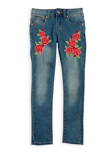 Girls 7-16 VIP Embroidered Skinny Jeans,DENIM,large