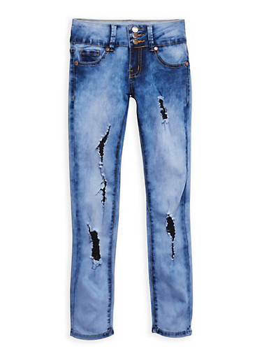 Girls 7-16 VIP Distressed Cloud Wash Jeans,DENIM,large