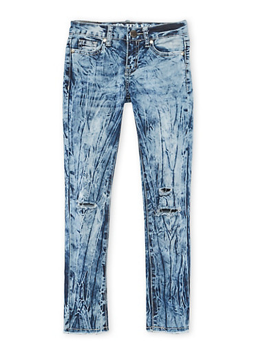Girls 7-16 VIP Acid Wash Ripped Knee Jeans,DENIM,large