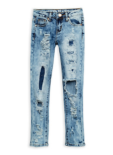 Girls 7-16 VIP Rip and Repair Skinny Jeans,DENIM,large