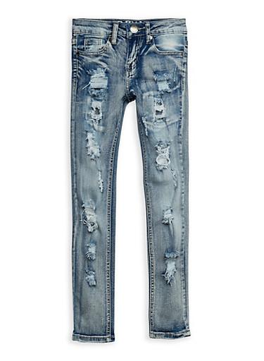 Girls 7-16 VIP Ripped Skinny Jeans,DENIM,large