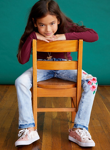 Girls 7-16 VIP Flower Embroidered Jeans,DENIM,large