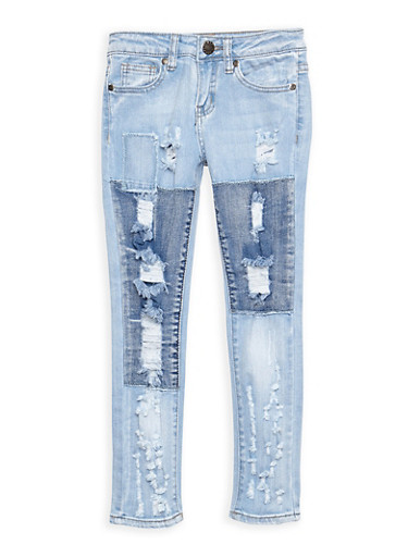 Girls 7-16 VIP Patch and Repair Jeans,DENIM,large