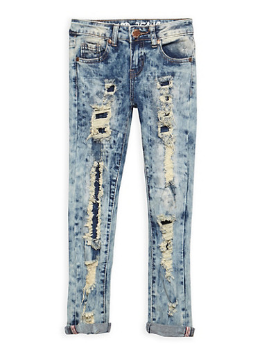 Girls 7-16 Bleached Rip and Repair Jeans,DENIM,large