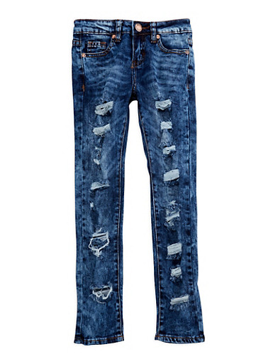 Girls 7-16 VIP Destroyed Skinny Jeans,DARK WASH,large