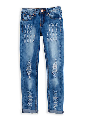 Girls 7-16 VIP Faded Destroyed Jeans,MEDIUM WASH,large