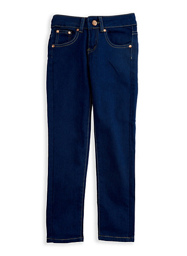 Girls 7-16 Basic Dark Wash Skinny Jeans with Contrast Stitching,DENIM,large
