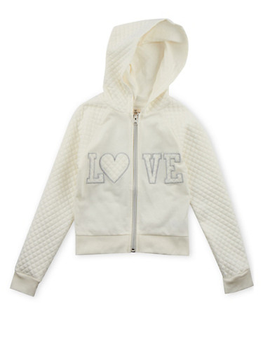 Girls 7-16 Quilted Sleeve Hoodie with Love Patchwork,IVORY,large
