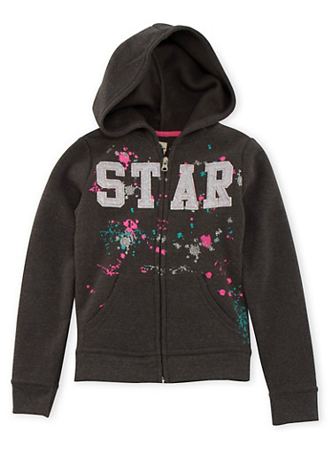 Girls 7-16 Hoodie with Paint Splatter Graphic,CHARCOAL,large