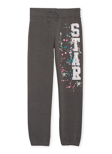 Girls 7-16 Joggers with Splatter Graphic,CHARCOAL,large