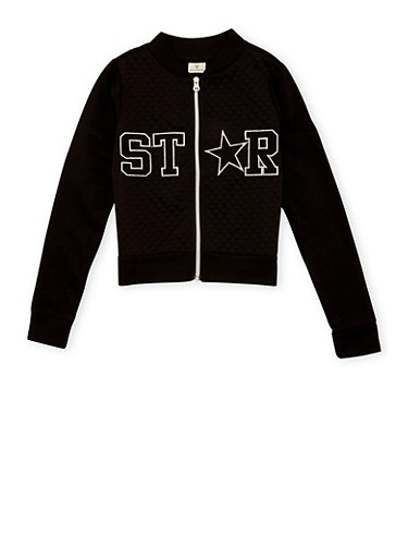 Girls 7-16 Quilted Bomber Jacket with Star Patchwork,BLACK,large