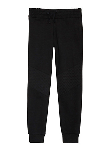 Girls 7-16 Joggers with Quilted Knee Patches,BLACK,large