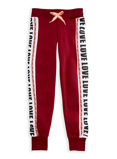 Girls 7-16 Love Graphic Joggers,WINE,large