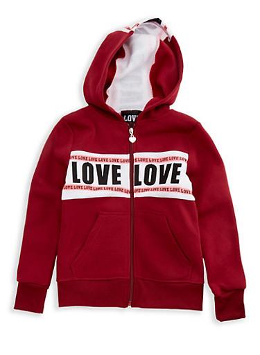 Girls 7-16 Long Sleeve Hooded Love Zip Up Sweatshirt,WINE,large